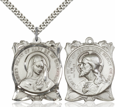 Bliss Immaculate Heart of Mary/Sacred Heart of Jesus Necklace