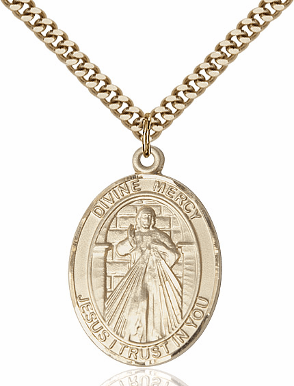 Bliss Jesus Divine Mercy & St Maria Faustina 14kt Gold-filled Religious Medal Necklace