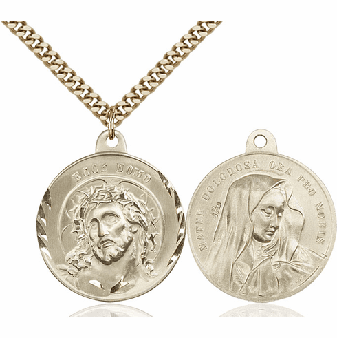Bliss Jesus Ecce Homo and Mater Dolorosa Gold-filled Medal Necklace