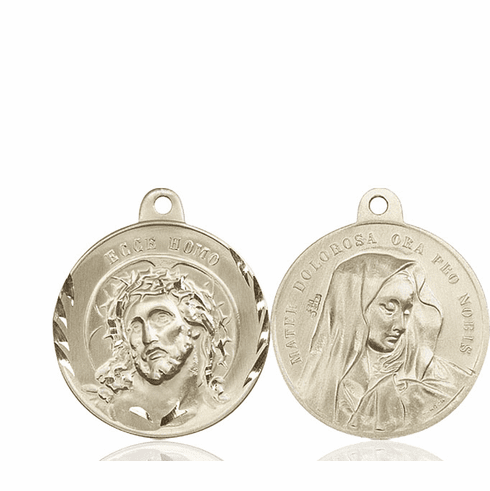 Bliss Jesus Ecce Homo and Mater Dolorosa Sterling Medal Necklace