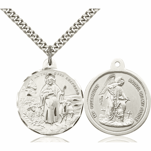 Bliss Jesus Good Shepherd and Guardian Angel Sterling Medal Necklace
