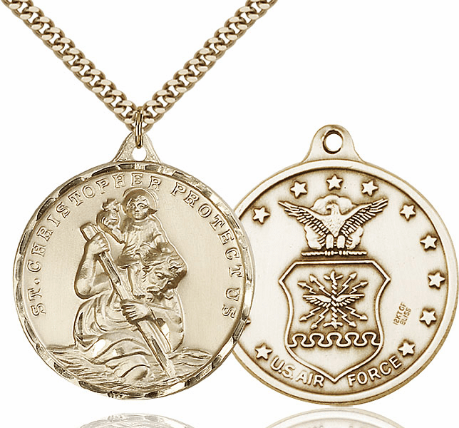 Bliss Large 14kt Gold-filled St Christopher US Air Force Pendant