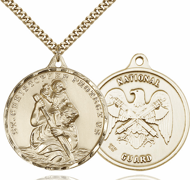 Bliss Large 14kt Gold-filled St Christopher US National Guard Necklace