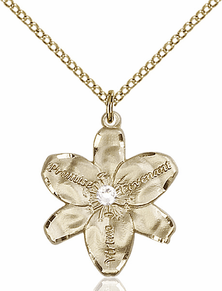 Bliss Large Chastity Flower April Crystal Birthstone Crystal 14kt Gold-filled Necklace