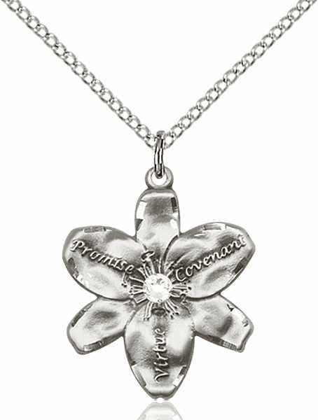 Bliss Large Chastity Flower April Crystal Birthstone Crystal Sterling Silver Necklace