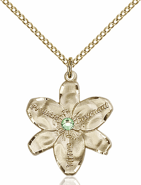 Bliss Large Chastity Flower Aug-Peridot Birthstone Crystal 14kt Gold-filled Necklace