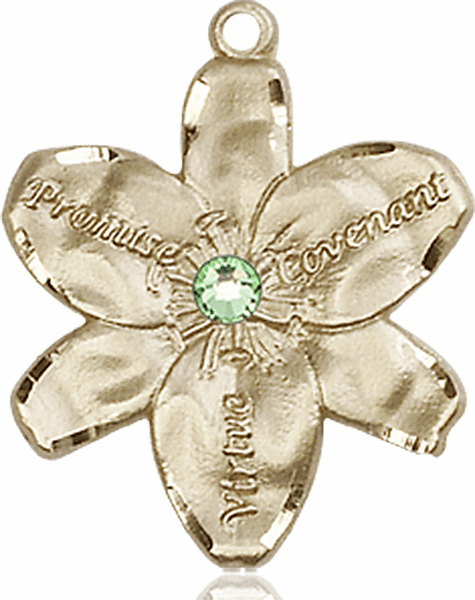 Bliss Large Chastity Flower August Peridot Birthstone Crystal 14kt Gold-filled Necklace
