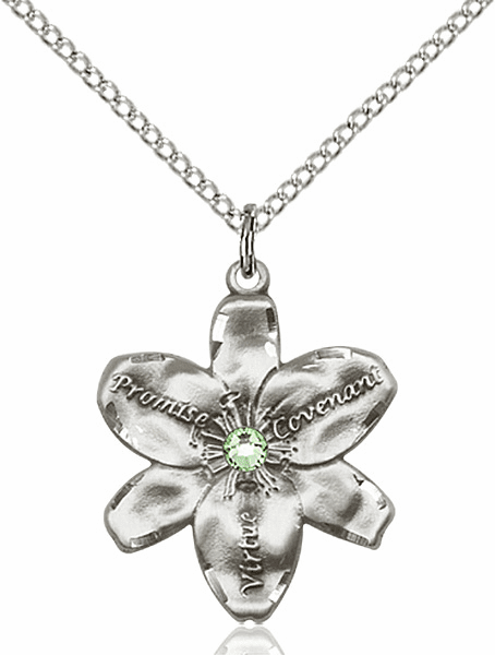 Bliss Large Chastity Flower Aug-Peridot Birthstone Crystal Sterling Silver Necklace