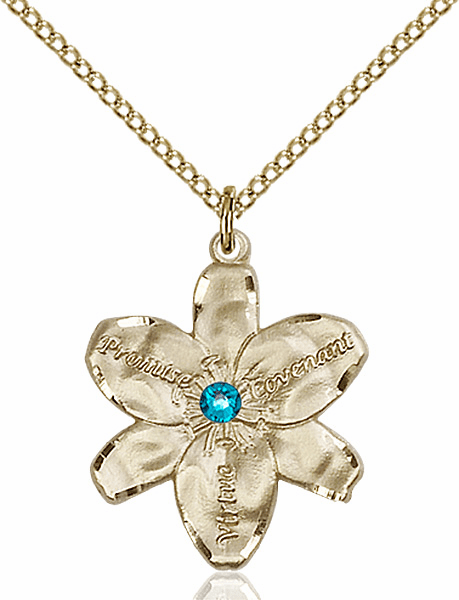 Bliss Large Chastity Flower Dec-Zircon Birthstone Crystal 14kt Gold-filled Necklace