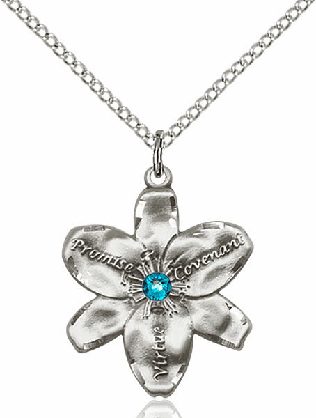 Bliss Large Chastity Flower December Zircon Birthstone Crystal Sterling Silver Necklace