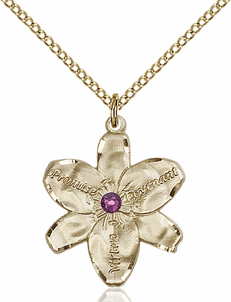 Bliss Large Chastity Flower Feb-Amethyst Birthstone Crystal 14kt Gold-filled Necklace