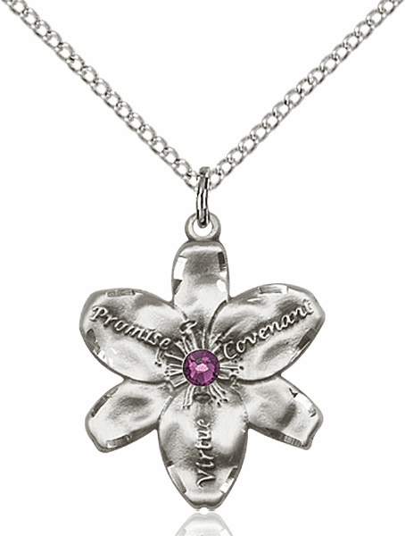 Bliss Large Chastity Flower Feb-Amethyst Birthstone Crystal Sterling Silver Necklace
