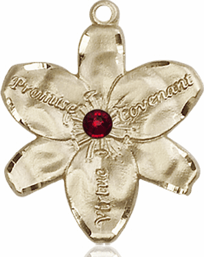 Bliss Large Chastity Flower January Garnet Birthstone Crystal 14kt Gold-filled Necklace