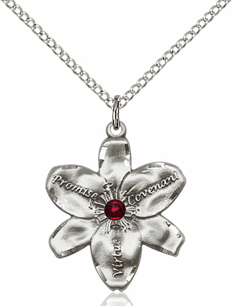 Bliss Large Chastity Flower January Garnet Birthstone Crystal Sterling Silver Necklace