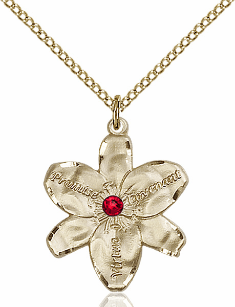 Bliss Large Chastity Flower Jul-Ruby Birthstone Crystal 14kt Gold-filled Necklace