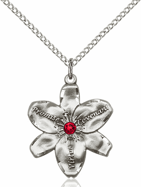 Bliss Large Chastity Flower Jul-Ruby Birthstone Crystal Sterling Silver Necklace