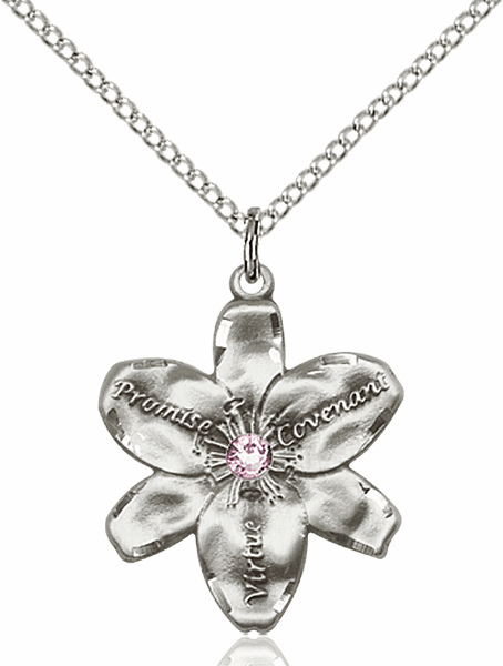 Bliss Large Chastity Flower Jun-Lt Amethyst Birthstone Crystal Sterling Silver Necklace