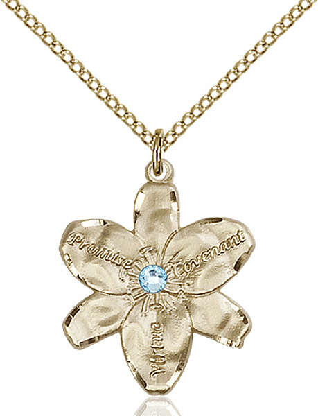 Bliss Large Chastity Flower March Aqua Birthstone Crystal 14kt Gold-filled Necklace