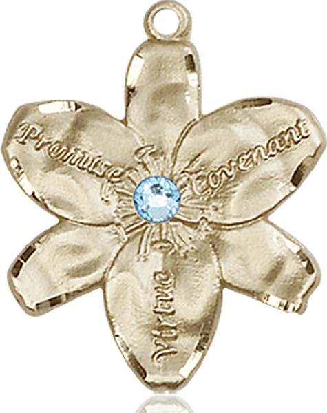 Bliss Large Chastity Flower Mar-Aqua Birthstone Crystal 14kt Gold-filled Necklace