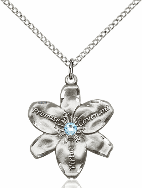 Bliss Large Chastity Flower March Aqua Birthstone Crystal Sterling Silver Necklace