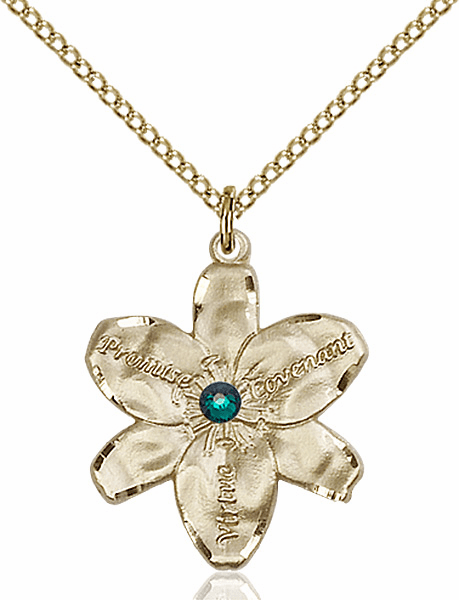 Bliss Large Chastity Flower May-Emerald Birthstone Crystal 14kt Gold-filled Necklace