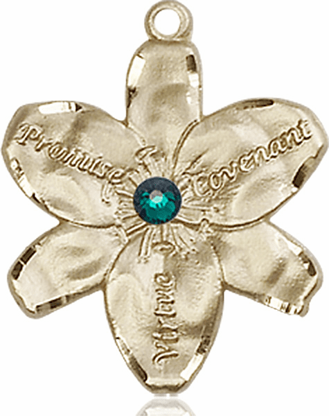 Bliss Large Chastity Flower May Emerald Birthstone Crystal 14kt Gold-filled Necklace