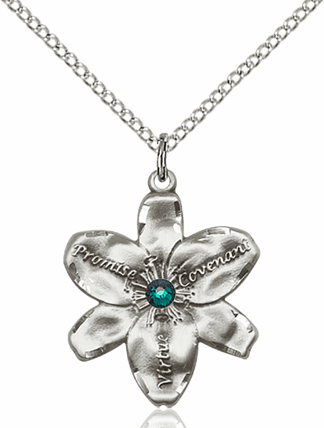 Bliss Large Chastity Flower May Emerald Birthstone Crystal Sterling Silver Necklace