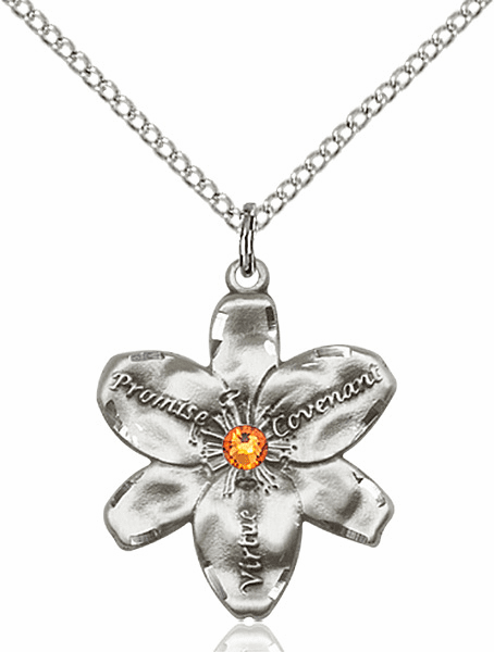 Bliss Large Chastity Flower November Topaz Birthstone Crystal Sterling Silver Necklace