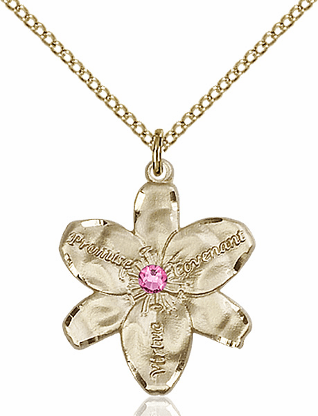 Bliss Large Chastity Flower Oct-Rose Birthstone Crystal 14kt Gold-filled Necklace