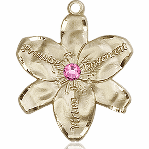 Bliss Large Chastity Flower October Rose Birthstone Crystal 14kt Gold-filled Necklace