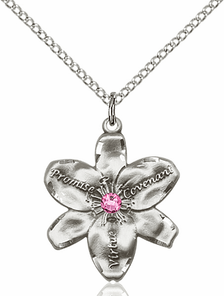 Bliss Large Chastity Flower October Rose Birthstone Crystal Sterling Silver Necklace