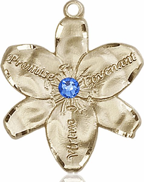 Bliss Large Chastity Flower Sep-Sapphire Birthstone Crystal 14kt Gold-filled Necklace