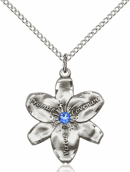 Bliss Large Chastity Flower September Sapphire Birthstone Crystal Sterling Silver Necklace
