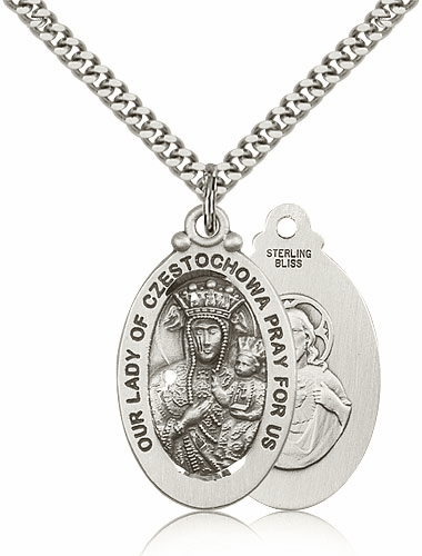 Bliss Large Our Lady of Czestochowa Pewter Necklace