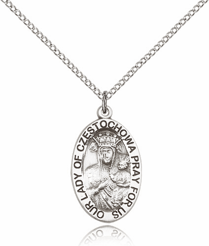 Bliss Large Our Lady of Czestochowa Silver-filled Necklace