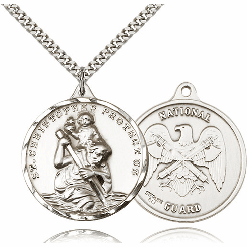 Bliss Large Pewter St Christopher US National Guard Necklace