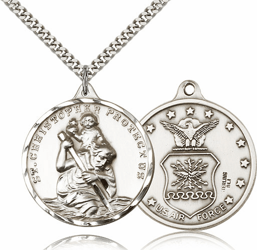 Bliss Large Silver-filled St Christopher US Air Force Pendant