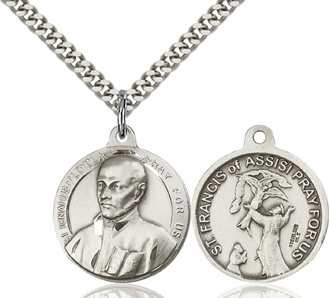 Bliss Large St Ignatius and St Francis of Assisi Sterling Medal Necklace