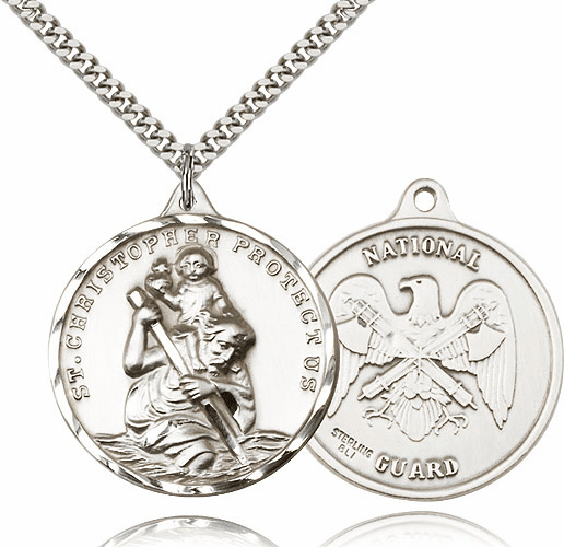 Bliss Large Sterling Silver St. Christopher US National Guard Necklace