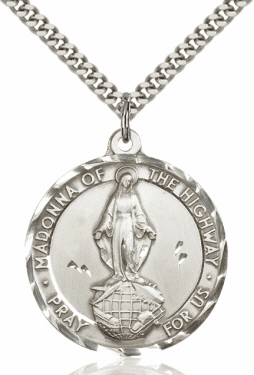 Bliss Madonna/Our Lady of the Highway Sterling Silver Pendant w/Chain