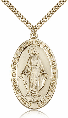 Bliss Manufacturing 14kt Gold-Filled Miraculous Medal Pendant Necklace