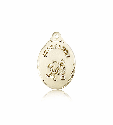 Bliss Manufacturing 14kt Graduation Hat And Diploma Bevel Edge Medal Pendant