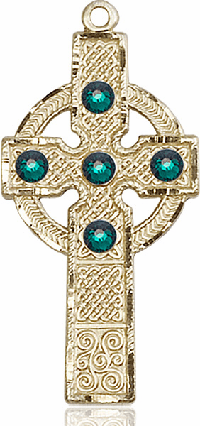 Bliss Manufacturing 14kt Yellow Gold Emerald Swarovski Kilklispeen Cross Pendant