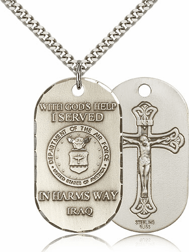 Bliss Manufacturing Air Force Crucifix Dog Tag Necklace