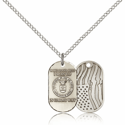 Bliss Manufacturing Air Force Dog Tag Medal Necklace w/American Flag