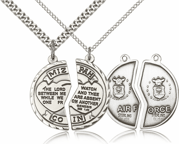 Bliss Manufacturing Air Force Miz Pah Sterling Silver Medal Necklaces