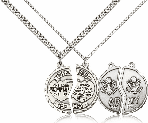 Bliss Manufacturing Army Miz Pah Sterling Silver Medal Necklaces