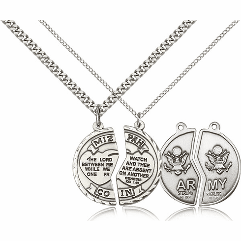 Bliss Manufacturing Army Mizpah Sterling Silver Medal Necklaces
