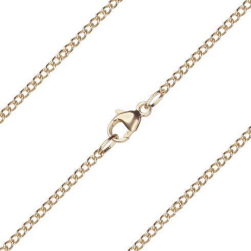 Bliss Manufacturing C05KT 14kt Gold Thin Curb Chain w/Lobster Claw