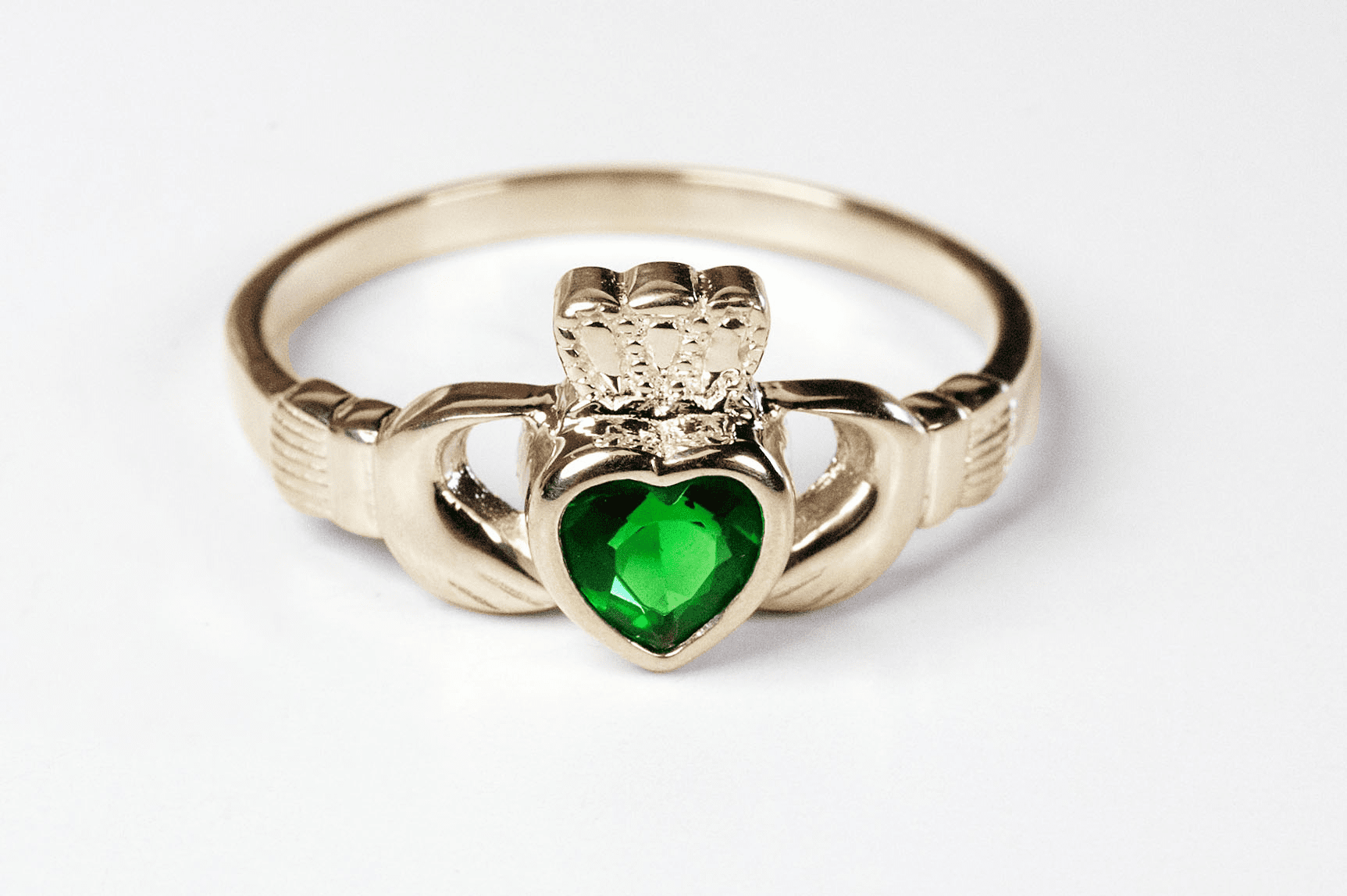 Bliss Manufacturing Catholic 14kt Yellow Gold Claddagh w/Emerald Stone Ring